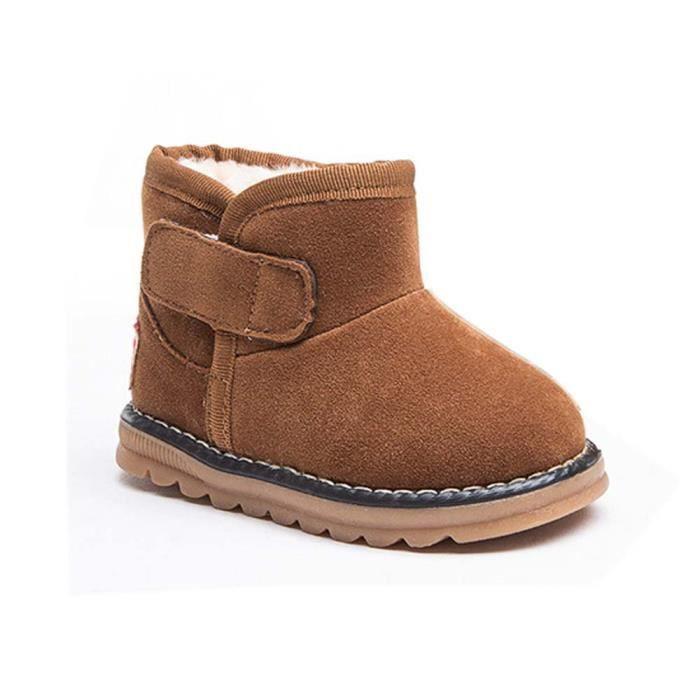 de Bébé hiver bottes enfants de chaussures neige fourrure bottes bambins marron garçon épaisses enfant qwp0Bqr