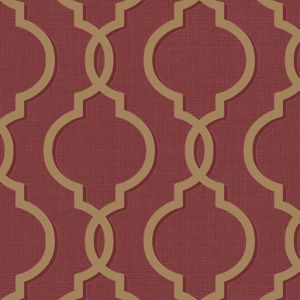 Holden Papier Peint Laticia Avec Motif Geometrique Baroque Rouge