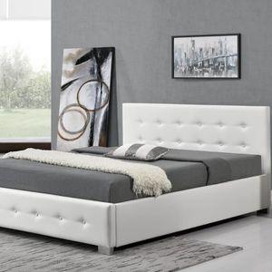 lit blanc 140x190 achat vente lit blanc 140x190 pas cher cdiscount. Black Bedroom Furniture Sets. Home Design Ideas