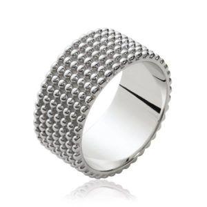0f8605436449 Bague anneau femme - argent massif 925 rhodié - tube jonc rangs fines boules