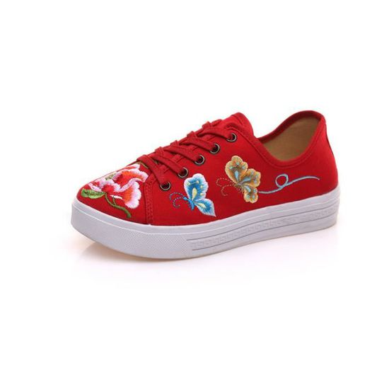 Baskets Chaussures Fille Femme Rouge Rouge - Achat / Vente basket