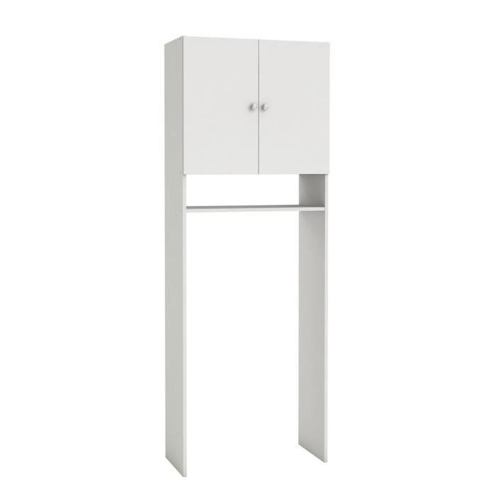 66x31x187cm - SANI Rangement sanitaire- 2 Portes - Blanc velours.COLONNE WC - ARMOIRE WC - COFFRAGE WC - PONT WC
