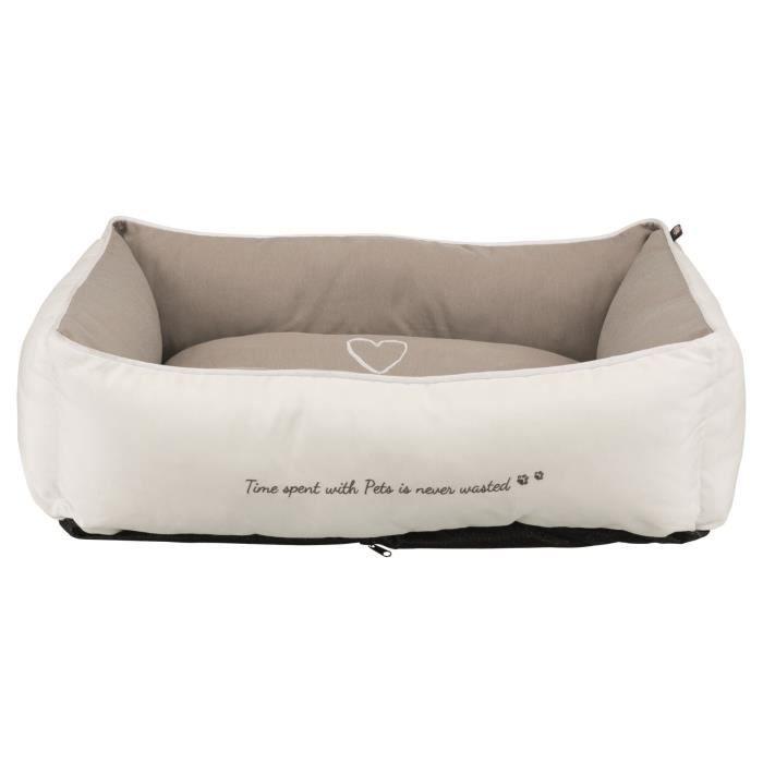 TRIXIE Lit Pet's Home - 80 x 60 cm - Blanc et beige taupe - Pour chien