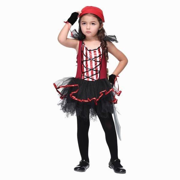 SODIAL(R)Costume tenue (sans couteau) de performance de pirate dHalloween : Robe de gaze en couches + echarpe + Gants pour Enfant F