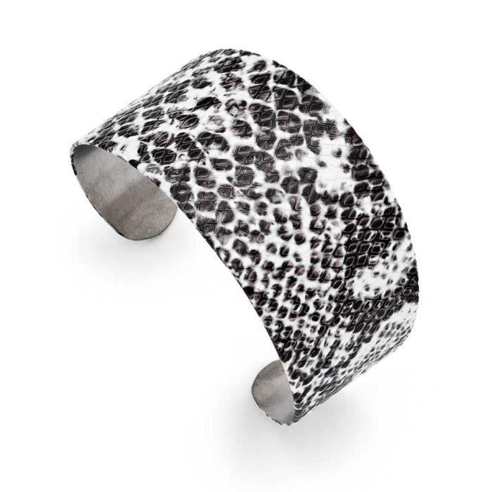 En acier inoxydable-Noir et blanc texturé Cuff Bracelet