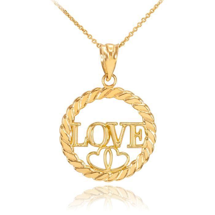 Collier Femme Pendentif 14 Ct Or Jaune Amour Cœurs À Cercle Corde (Livré avec une 45cm Chaîne)