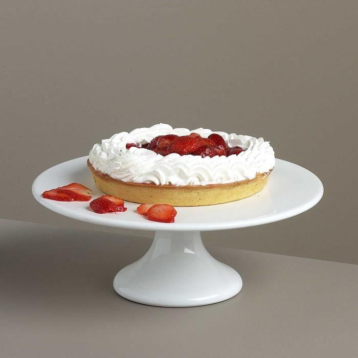plat tarte sur pied en porcelaine blanc d 28 x h 10 cm ohio achat vente plat de. Black Bedroom Furniture Sets. Home Design Ideas