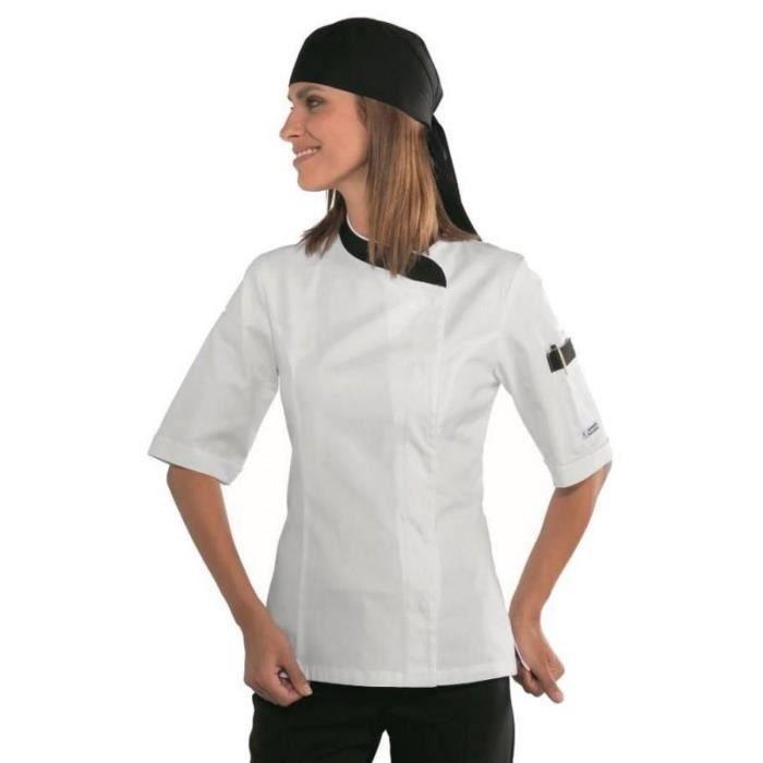 Veste Snaps Manches Courtes Cuisine Blancnoir Coton De Femme aqSav