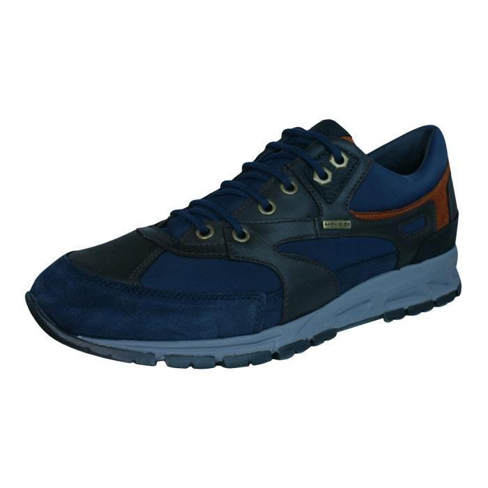 Geox U Houston A Cuir Hommes Sneakers Sport Brown 9 Y84EyKXeA7