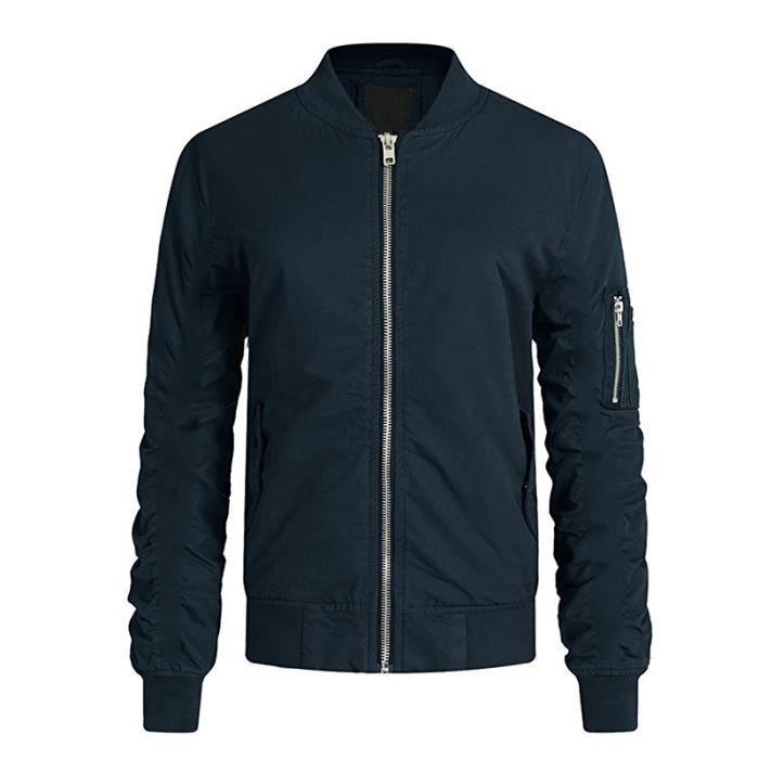 3edd4377eba3e Blouson Homme Mode Style Veste Rétro Courte En Molleton Pour Bleu Et Noir