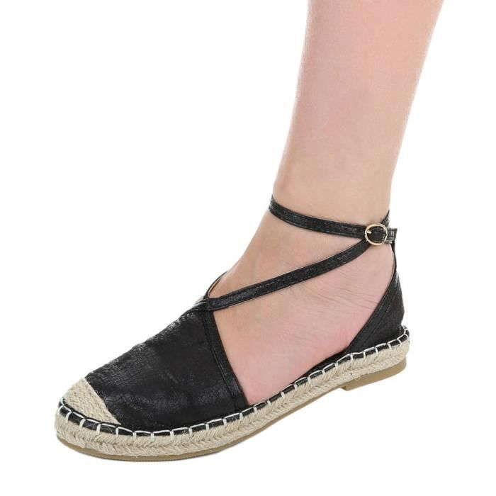 Avec Femme Chaussures Imxkmab 40 Noir Espadrilles Escarpin Lacer pt4xqw4r