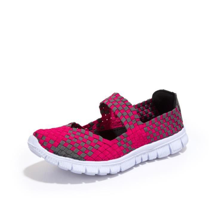 Chaussures Tissent sandale femme Printemps ete Mixte Couleur à Carreaux Respirant Casual Sport Chaussures Mocassins RAeOUH1z7