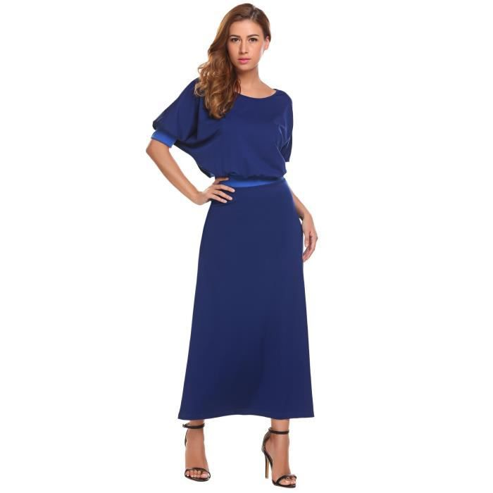 Femmes Maxi Robe Casual court Manches Solid O Cou taille élastique A Ligne