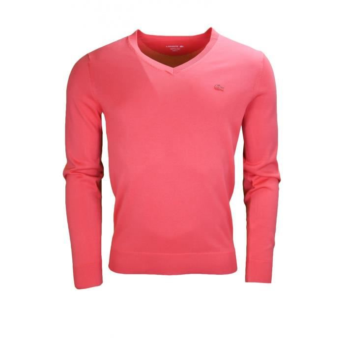 a7d919516f Pull col V Lacoste rouge pour homme - Couleur: Rouge - Taille: 6 - XL