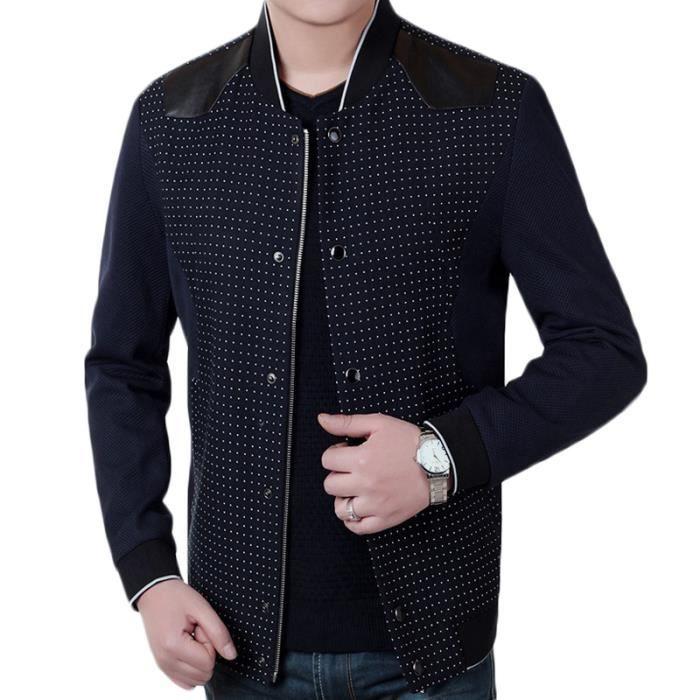 veste noir homme marque luxe a la mode v tements en pu cuir de mince effet mouchet d 39 automne. Black Bedroom Furniture Sets. Home Design Ideas