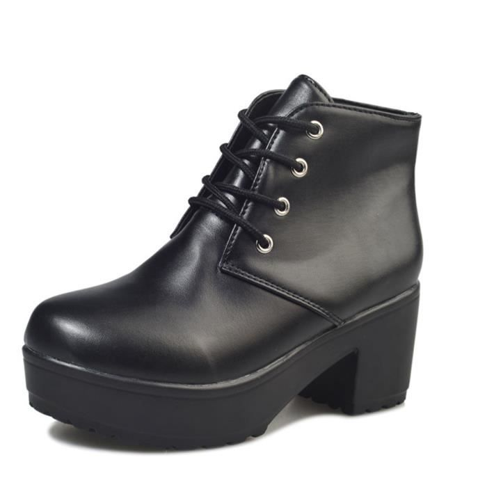 Botte Talons Antidérapant Nouvelle Chaussure Mode Haut qualité Classique Bottine Beau Simple Confortable Rétro Couleur unie 35-41