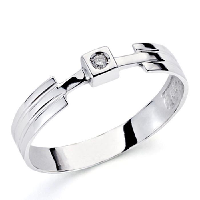 Bague solitaire 18k diamant blanc brillant 0,04ct 1 [7354] - Taille: 52