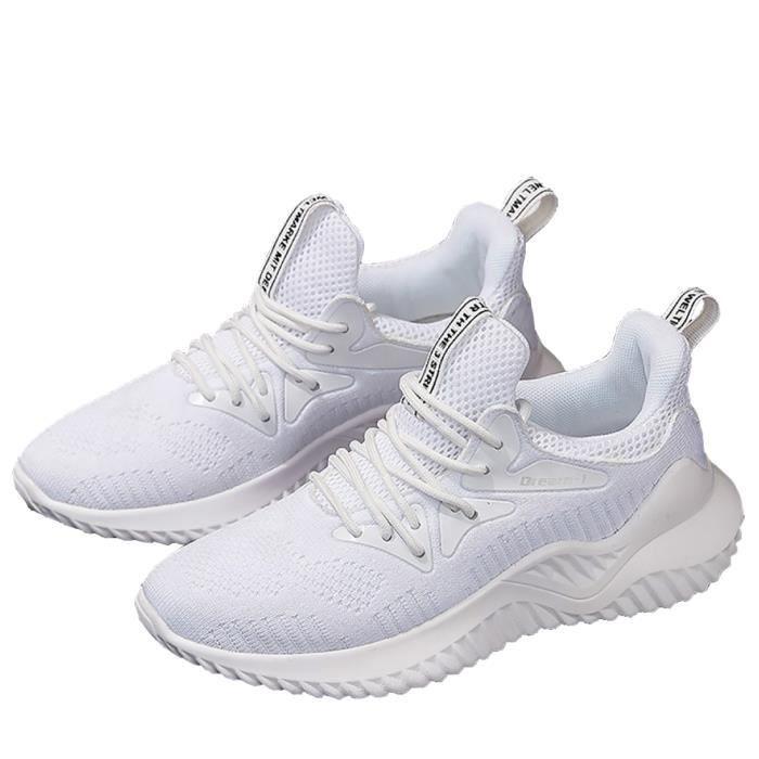 Femme Plates Lacets De Sports Course Respirantes Confortable Chaussures Athlétique Maille Blanc Mode Sneakers Baskets LSqcR345Aj