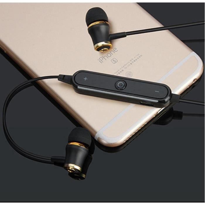 Oem - Ecouteurs Bluetooth Anneau Pour Lg Q Stylus Smartphone Sans Fil Telecommande Son Main Libre Intra Au Couleur:noir