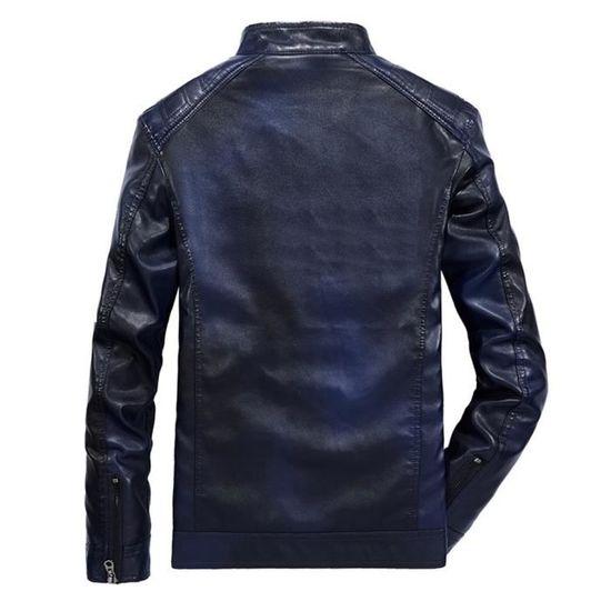 Zipper Cuir Hiver Col Chaud Longues Slim En Montant Bleu Automne Manteau Hommes Vestes 6EwTTOAqx5