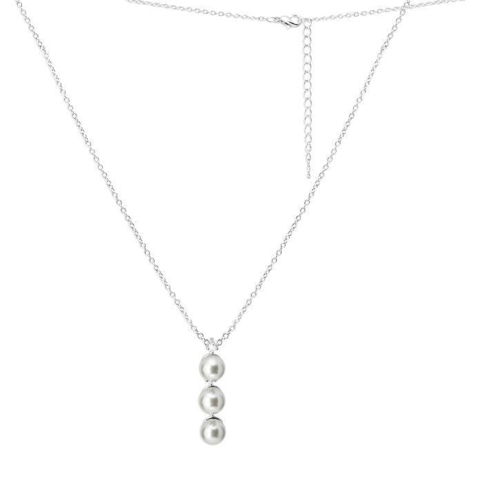 Pendentif Femme - Bijou Plaqué Argent, Rhodium - Zirconium, Perle ¤¤