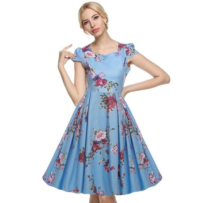 robe floral col v manches longues