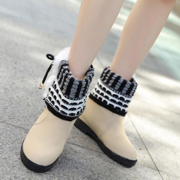 Bottes d'hiver bottes de femmes chaudes Bottines chaudes chaussures d'hiver Beige WE958