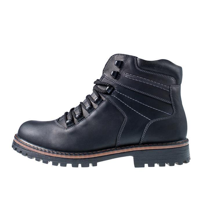 Bottes hiver d'homme 14507: Chaussures en cuir et fourrure imperméable neige, Système Oc antidérapante unique, Sécurité sur la glace