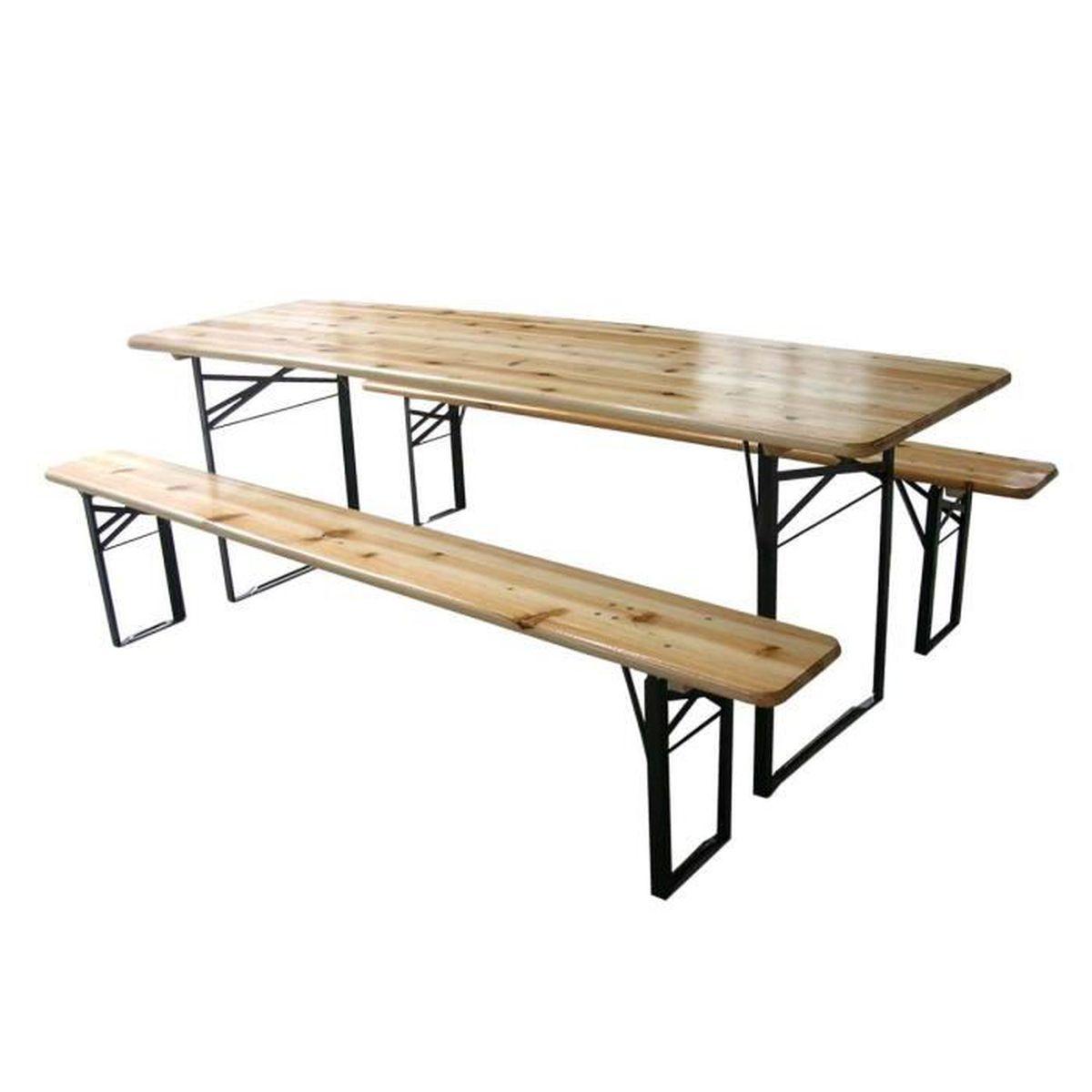 Table Et Bancs Pliables Bois 180cm Lot De 5 Achat Vente Salon