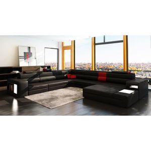 CANAPÉ - SOFA - DIVAN Canapé panoramique noir et rouge angle droit VENIS