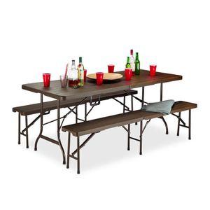Table de jardin imitation bois - Achat / Vente pas cher