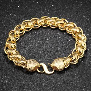 10dd2af0cacc9 BRACELET - GOURMETTE chaîne massive de poignet, plaqué or en or jaune 1
