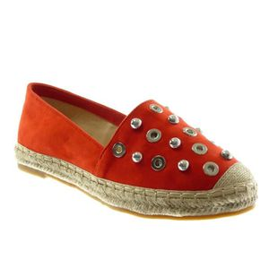 limpide en vue lacer dans baskets pour pas cher Angkorly - Chaussure Mode Espadrille slip-on femme perforée clouté corde  Talon bloc 2.5 CM - Rouge - LX175 T 38