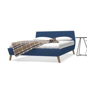 STRUCTURE DE LIT Cadre de lit avec sommier à lattes Tissu 140 x 200