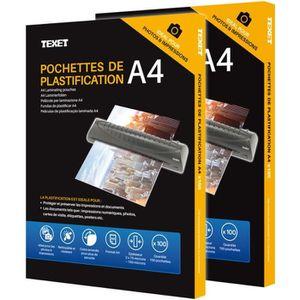 PLASTIQUE A PLASTIFIER 200 Pochette De Plastification A4 150 Microns