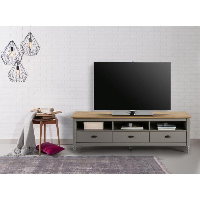 LAVANDE Meuble TV 3 tiroirs en pin massif - Décor gris ciré - L 158 x P 40 x H 49 cm
