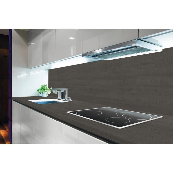 Chant droit hydrofuge aspect bois noir - Dimensions : L 235 x P 65 x H 3,8 cm - Traitement antibactérienPLAN DE TRAVAIL