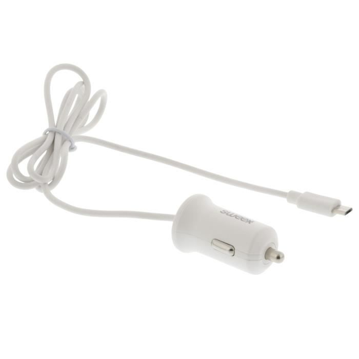 SWEEX Chargeur allume-cigare Micro USB - 2,4 A - Blanc