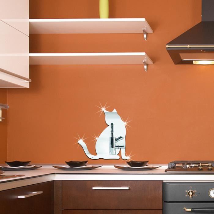 Déco de fête murale Mignon Chat Mode DIY 3D Miroir Wall Sticker Grande