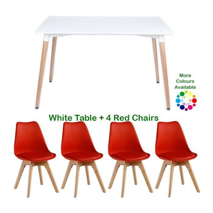 Set De Salle A Manger Moderne Lorenzo Table Blanche Et 4 Chaises Rouges Scandinavian Dining Set Tulip