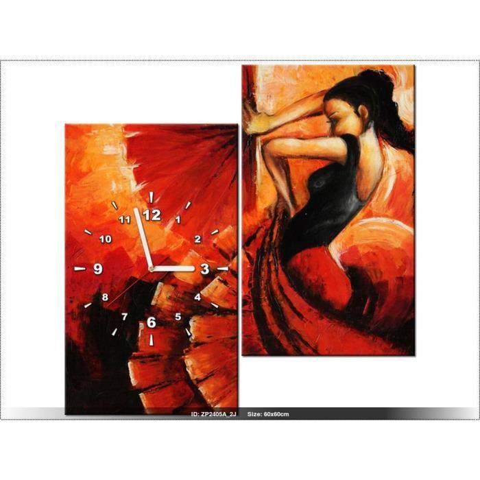60x60cm Flamenco Espagne Rouge Horloge Murale Tableau Deco
