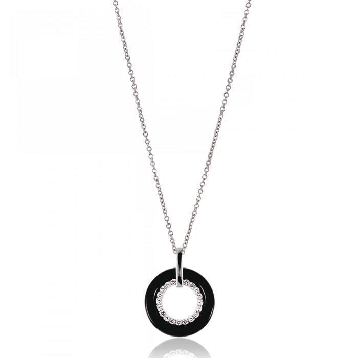 Collier femme céramique Acira ronde noir Bijoux Paris