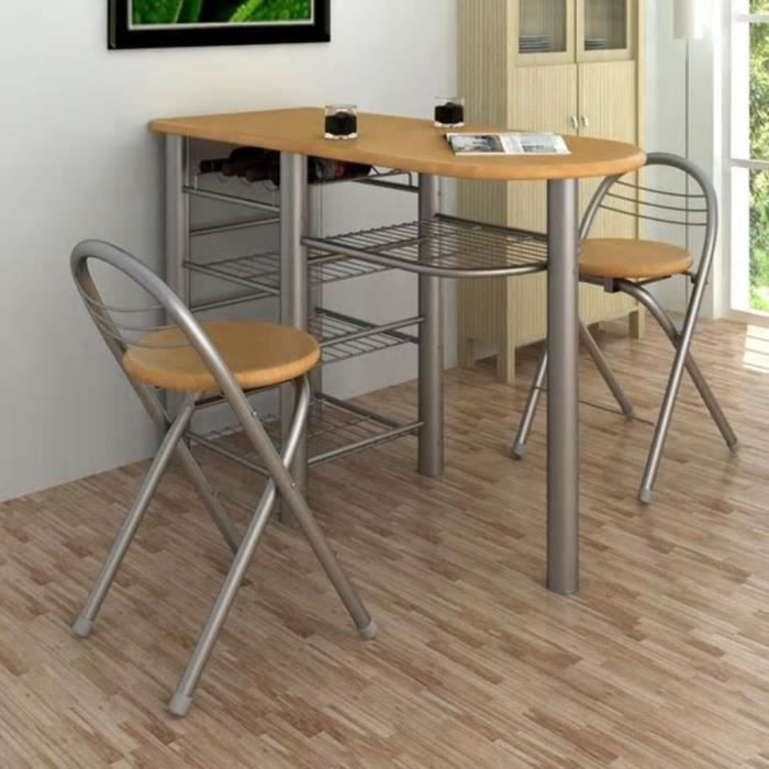 Set Table De Bar Table Cuisine Avec 2 Chaises Achat Vente Table