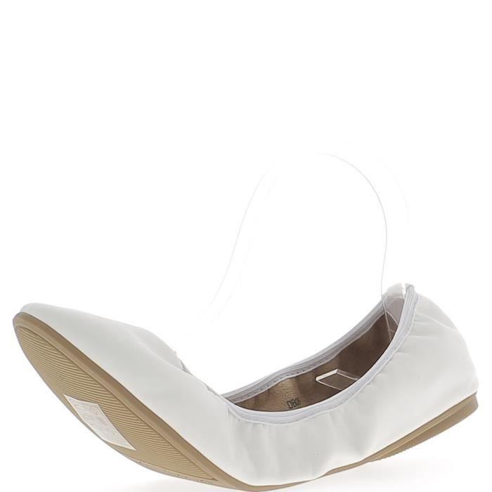 pliables brillant blanches Ballerines aspect cuir grande taille qwxa7v7Yz