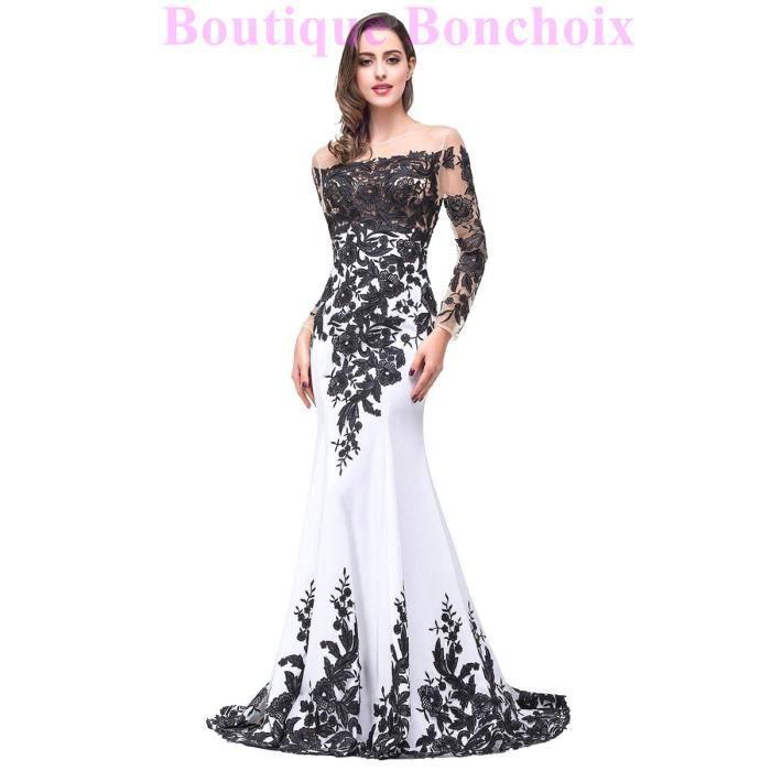 0610a487845 Robes de Soiré Cérémonie Mariage Femme Longue Manches Longue Blanc et  Appliques Noir Elegant