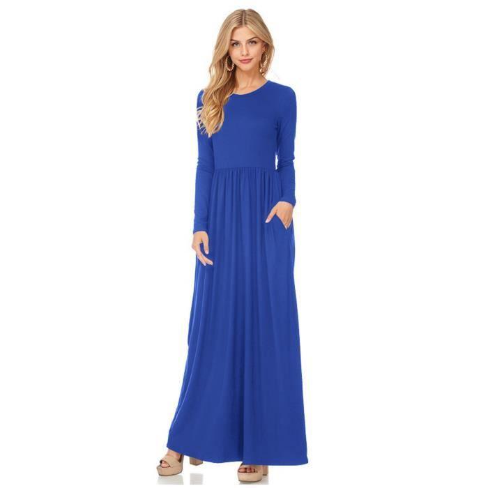 robe de aline femmes pur et simple couleur o long cou robe maxi casual manches