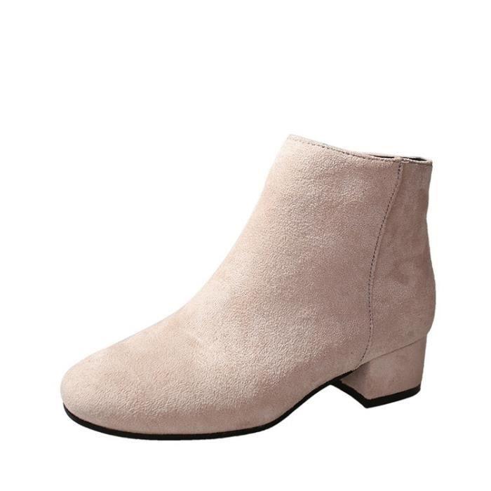 Taille 35-39 Sexy Ladies cuir femmes de talons hauts & # 39; s bout rond bottes talon épais femmes & # 39; s Botas chaud 4ZLZJU85