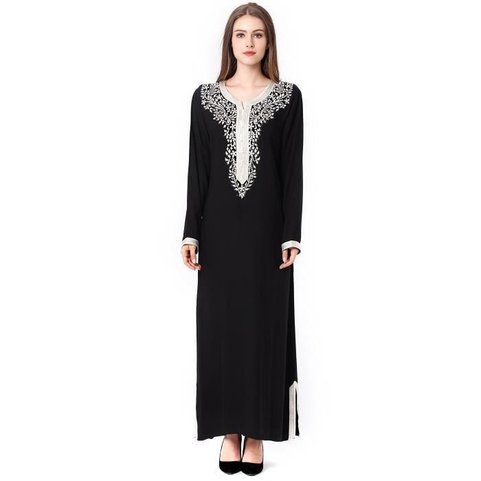 99893b4fd3fc9 Robe musulmane de femmes Dubaï Kaftan Pour manches longues longue robe arabe  un vêtement islamique filles Caftan 3OFRLT Taille-38