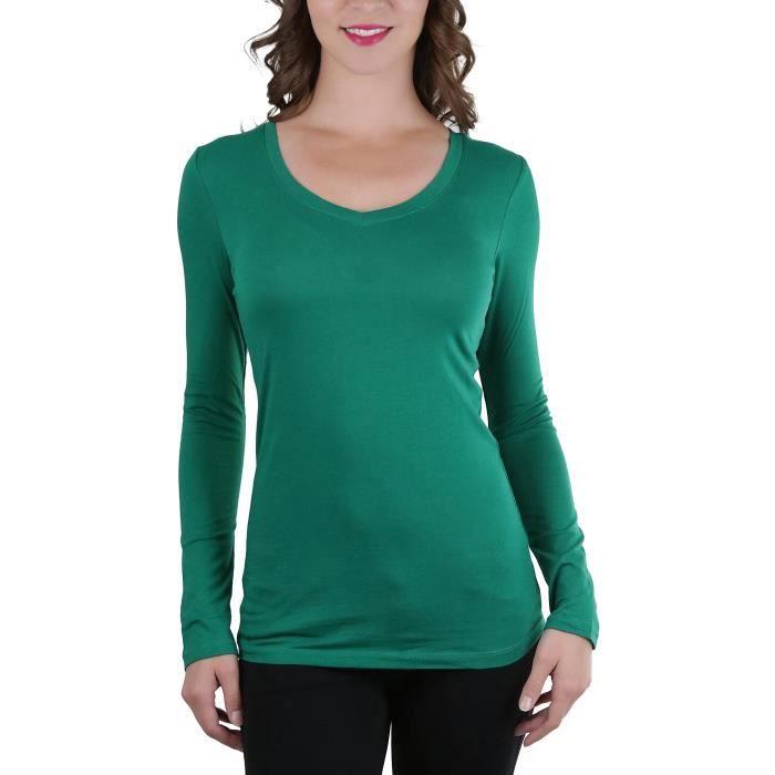 7ad59ac5f3 T-shirt basique à manches longues et col en V pour femme LP902 Taille-38