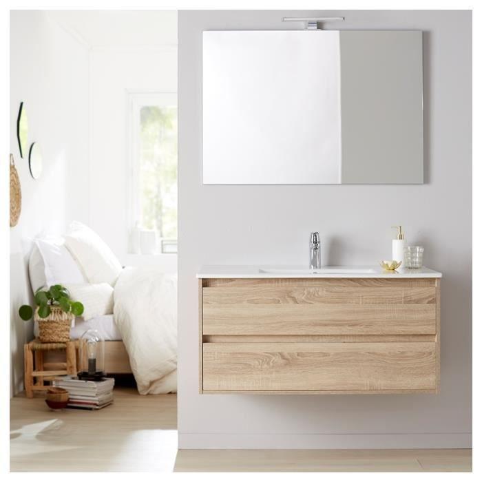 Meuble De Salle De Bain + Plan Vasque 100 + Miroir 100 Siris Chêne